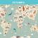 Papel De Parede - Animais do mapa do mundo desenhado