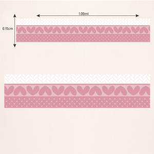 Faixa Bolinhas e Corações Vinil 0,010mm - Autocolante Sob medida- Impressão Digital - Fosco - Tamanho de 1,00x0,15cm Todas as Imagens são MERAMENTE ILUSTRATIVAS.