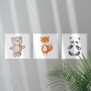 Kit Quadro Decorativo Animais Coleção Moldura em Pinus e Fundo em Madeira 100% MDF 3mm 20cm X 20cm Impressão Digital Com ou sem vidro Moldura na Cor Branca Vinil Texturizado