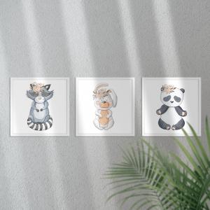 Kit Quadro Decorativo Animais Coleção Meninas Moldura em Pinus e Fundo em Madeira 100% MDF 3mm 20cm X 20cm Impressão Digital Com ou sem vidro Moldura na Cor Branca Vinil Texturizado