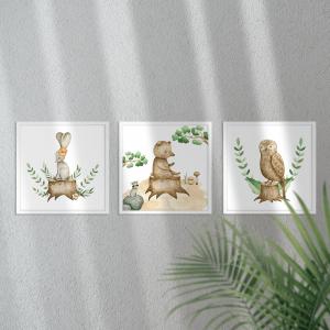 Kit Quadro Decorativo Animais da Floresta Moldura em Pinus e Fundo em Madeira 100% MDF 3mm 20cm X 20cm Impressão Digital Com ou sem vidro Moldura na Cor Branca Vinil Texturizado