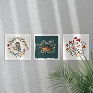 Kit Quadro Decorativo Animals Trees Moldura em Pinus e Fundo em Madeira 100% MDF 3mm 20cm X 20cm Impressão Digital Com ou sem vidro Moldura na Cor Branca Vinil Texturizado