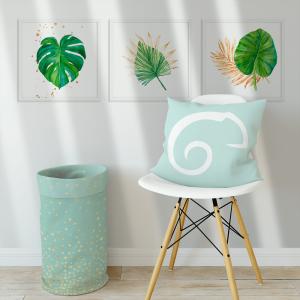 Kit Quadro Decorativo aquarela de folhas verdes tropicais Moldura em Pinus e Fundo em Madeira 100% MDF 3mm 20cm X 20cm Impressão Digital Com ou sem vidro Moldura na Cor Branca Vinil Texturizado
