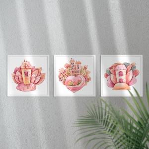 Kit Quadro Decorativo Aquarela Magic Cute Houses Moldura em Pinus e Fundo em Madeira 100% MDF 3mm 20cm X 20cm Impressão Digital Com ou sem vidro Moldura na Cor Branca Vinil Texturizado