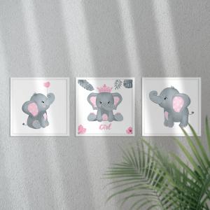 Kit Quadro Decorativo aquarela Pink Elephant Moldura em Pinus e Fundo em Madeira 100% MDF 3mm 20cm X 20cm Impressão Digital Com ou sem vidro Moldura na Cor Branca Vinil Texturizado