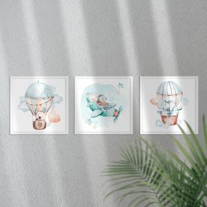 Kit Quadro Decorativo Aviadores Moldura em Pinus e Fundo em Madeira 100% MDF 3mm 22cm X 22cm Impressão Digital Com ou sem vidro Moldura na Cor Branca Vinil Texturizado