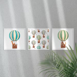 Kit Quadro Decorativo balão bonito estrelas e nuvens Moldura em Pinus e Fundo em Madeira 100% MDF 3mm 20cm X 20cm Impressão Digital Com ou sem vidro Moldura na Cor Branca Vinil Texturizado