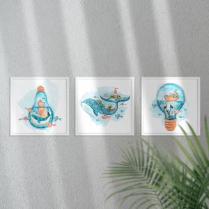 Kit Quadro Decorativo baleia em aquarela Moldura em Pinus e Fundo em Madeira 100% MDF 3mm 20cm X 20cm Impressão Digital Com ou sem vidro Moldura na Cor Branca Vinil Texturizado
