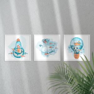 Kit Quadro Decorativo baleia em aquarela e balões Moldura em Pinus e Fundo em Madeira 100% MDF 3mm 20cm X 20cm Impressão Digital Com ou sem vidro Moldura na Cor Branca Vinil Texturizado