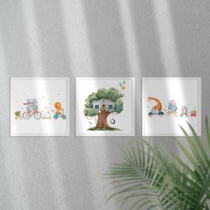 Kit Quadro Decorativo belas casa na árvore Moldura em Pinus e Fundo em Madeira 100% MDF 3mm 20cm X 20cm Impressão Digital Com ou sem vidro Moldura na Cor Branca Vinil Texturizado