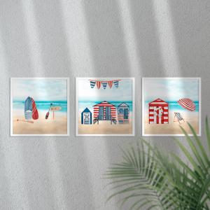 Kit Quadro Decorativo Cabanas de praia Moldura em Pinus e Fundo em Madeira 100% MDF 3mm 20cm X 20cm Impressão Digital Com ou sem vidro Moldura na Cor Branca Vinil Texturizado