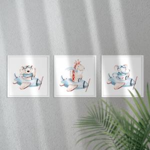 Kit Quadro Decorativo céu bonito e chique Moldura em Pinus e Fundo em Madeira 100% MDF 3mm 20cm X 20cm Impressão Digital Com ou sem vidro Moldura na Cor Branca Vinil Texturizado