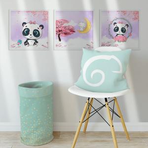 Kit Quadro Decorativo doodle panda e a lua Moldura em Pinus e Fundo em Madeira 100% MDF 3mm 20cm X 20cm Impressão Digital Com ou sem vidro Moldura na Cor Branca Vinil Texturizado