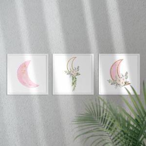Kit Quadro Decorativo Lua de brilho dourado menina Moldura em Pinus e Fundo em Madeira 100% MDF 3mm 20cm X 20cm Impressão Digital Com ou sem vidro Moldura na Cor Branca Vinil Texturizado