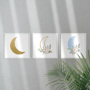 Kit Quadro Decorativo Lua de brilho dourado menino Moldura em Pinus e Fundo em Madeira 100% MDF 3mm 20cm X 20cm Impressão Digital Com ou sem vidro Moldura na Cor Branca Vinil Texturizado