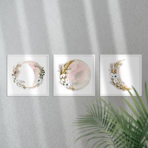 Kit Quadro Decorativo Lua Rosa e Dourada Moldura em Pinus e Fundo em Madeira 100% MDF 3mm 20cm X 20cm Impressão Digital Com ou sem vidro Moldura na Cor Branca Vinil Texturizado