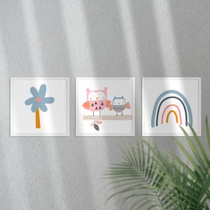Kit Quadro Decorativo mamãe e eu Moldura em Pinus e Fundo em Madeira 100% MDF 3mm 20cm X 20cm Impressão Digital Com ou sem vidro Moldura na Cor Branca Vinil Texturizado