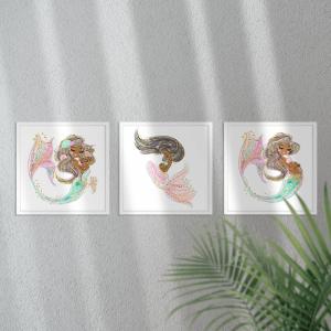Kit Quadro Decorativo mamãe sereia mod. 1 Moldura em Pinus e Fundo em Madeira 100% MDF 3mm 20cm X 20cm Impressão Digital Com ou sem vidro Moldura na Cor Branca Vinil Texturizado