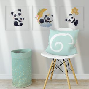 Kit Quadro Decorativo Panda adorável mod. 1 Moldura em Pinus e Fundo em Madeira 100% MDF 3mm 20cm X 20cm Impressão Digital Com ou sem vidro Moldura na Cor Branca Vinil Texturizado
