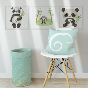 Kit Quadro Decorativo Pandas Aquarela e Bambu Moldura em Pinus e Fundo em Madeira 100% MDF 3mm 20cm X 20cm Impressão Digital Com ou sem vidro Moldura na Cor Branca Vinil Texturizado