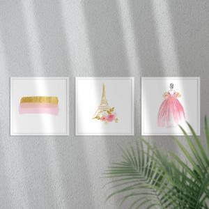Kit Quadro Decorativo Pink Gold Princess Aquarela Moldura em Pinus e Fundo em Madeira 100% MDF 3mm 20cm X 20cm Impressão Digital Com ou sem vidro Moldura na Cor Branca Vinil Texturizado