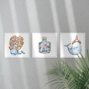 Kit Quadro Decorativo subaquático Moldura em Pinus e Fundo em Madeira 100% MDF 3mm 20cm X 20cm Impressão Digital Com ou sem vidro Moldura na Cor Branca Vinil Texturizado