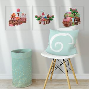 Kit Quadro Decorativo Sweet Candy Land Moldura em Pinus e Fundo em Madeira 100% MDF 3mm 20cm X 20cm Impressão Digital Com ou sem vidro Moldura na Cor Branca Vinil Texturizado