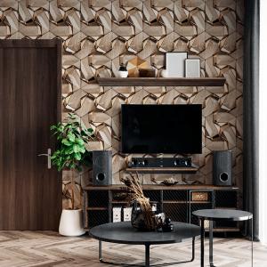 Papel De Parede - 3d Design madeira nogueira e ouro Vinil 0,010mm - Autocolante Sob medida - Padrão Impressão Digital Fosco - Liso Divididos em Rolos de 50cm Todas as Imagens são MERAMENTE ILUSTRATIVAS.