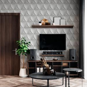Papel De Parede - 3D futurista em formato de hexágono de concreto Vinil 0,010mm - Autocolante Sob medida - Padrão Impressão Digital Fosco - Liso Divididos em Rolos de 50cm Todas as Imagens são MERAMENTE ILUSTRATIVAS.