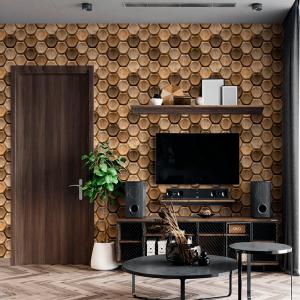 Papel De Parede - 3D madeira de carvalho blocos hexagonais Vinil 0,010mm - Autocolante Sob medida - Padrão Impressão Digital Fosco - Liso Divididos em Rolos de 50cm Todas as Imagens são MERAMENTE ILUSTRATIVAS.