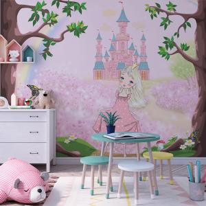 Papel De Parede - A princesa no reino encantado Vinil 0,010mm - Autocolante Sob medida - Painel Impressão Digital - Fosco - Divididos em Rolos de 50cm - Todas as Imagens são MERAMENTE ILUSTRATIVAS.