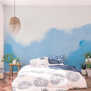 Papel De Parede - aquarela em estilo abstrato azul Vinil 0,010mm - Autocolante Sob medida - Painel Impressão Digital - Fosco - Divididos em Rolos de 50cm - Todas as Imagens são MERAMENTE ILUSTRATIVAS.