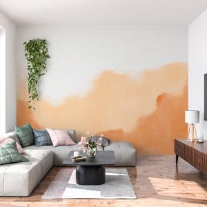 Papel De Parede - aquarela em estilo abstrato laranja Vinil 0,010mm - Autocolante Sob medida - Painel Impressão Digital - Fosco - Divididos em Rolos de 50cm - Todas as Imagens são MERAMENTE ILUSTRATIVAS.