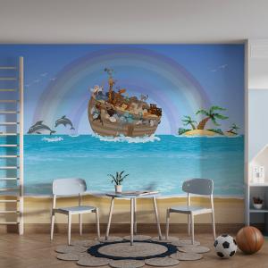 Papel De Parede - Arca de Noé no mar Vinil 0,010mm - Autocolante Sob medida - Painel Impressão Digital - Fosco - Divididos em Rolos de 50cm - Todas as Imagens são MERAMENTE ILUSTRATIVAS.