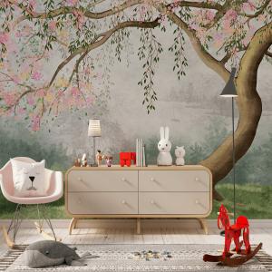 Papel De Parede - Árvore com flores de salgueiro Vinil 0,010mm - Autocolante Sob medida - Painel Impressão Digital - Fosco - Divididos em Rolos de 50cm - Todas as Imagens são MERAMENTE ILUSTRATIVAS.