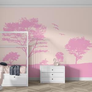 Papel De Parede - Árvores Rosa Vinil 0,010mm - Autocolante Sob medida - Painel Impressão Digital - Fosco - Divididos em Rolos de 50cm - Todas as Imagens são MERAMENTE ILUSTRATIVAS.