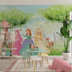 Papel De Parede - As princesas na floresta Vinil 0,010mm - Autocolante Sob medida - Painel Impressão Digital - Fosco - Divididos em Rolos de 50cm - Todas as Imagens são MERAMENTE ILUSTRATIVAS.