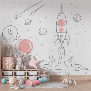 Papel De Parede - Astronauta Rosa Vinil 0,010mm - Autocolante Sob medida - Painel Impressão Digital - Fosco - Divididos em Rolos de 50cm - Todas as Imagens são MERAMENTE ILUSTRATIVAS.