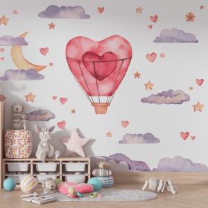 Papel De Parede - Balão do Amor Vinil 0,010mm - Autocolante Sob medida - Painel Impressão Digital - Fosco - Divididos em Rolos de 50cm - Todas as Imagens são MERAMENTE ILUSTRATIVAS.