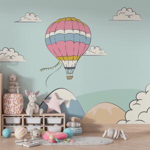 Papel De Parede - Balão nas Nuvens Vinil 0,010mm - Autocolante Sob medida - Painel Impressão Digital - Fosco - Divididos em Rolos de 50cm - Todas as Imagens são MERAMENTE ILUSTRATIVAS.