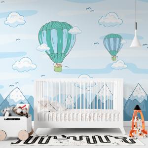 Papel De Parede - balão no céu azul Vinil 0,010mm - Autocolante Sob medida - Painel Impressão Digital - Fosco - Divididos em Rolos de 50cm - Todas as Imagens são MERAMENTE ILUSTRATIVAS.