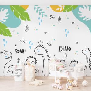 Papel De Parede - Bebê com Dino com a Familia Vinil 0,010mm - Autocolante Sob medida - Painel Impressão Digital - Fosco - Divididos em Rolos de 50cm - Todas as Imagens são MERAMENTE ILUSTRATIVAS.