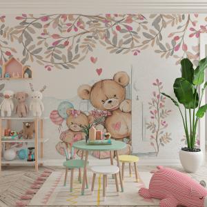 Papel De Parede - Bonitos Teddy-Bears Vinil 0,010mm - Autocolante Sob medida - Painel Impressão Digital - Fosco - Divididos em Rolos de 50cm - Todas as Imagens são MERAMENTE ILUSTRATIVAS.