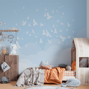 Papel De Parede - Céu Azul com Pássaros Vinil 0,010mm - Autocolante Sob medida - Painel Impressão Digital - Fosco - Divididos em Rolos de 50cm - Todas as Imagens são MERAMENTE ILUSTRATIVAS.