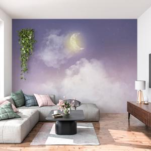 Papel De Parede - céu com lua crescente Vinil 0,010mm - Autocolante Sob medida - Painel Impressão Digital - Fosco - Divididos em Rolos de 50cm - Todas as Imagens são MERAMENTE ILUSTRATIVAS.