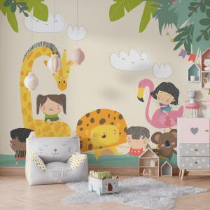 Papel De Parede - Crianças bonitas com animais Vinil 0,010mm - Autocolante Sob medida - Painel Impressão Digital - Fosco - Divididos em Rolos de 50cm - Todas as Imagens são MERAMENTE ILUSTRATIVAS.