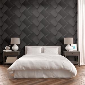 Papel De Parede - cubos realistas de papel preto Vinil 0,010mm - Autocolante Sob medida - Padrão Impressão Digital - Fosco - Divididos em Rolos de 50cm - Todas as Imagens são MERAMENTE ILUSTRATIVAS.