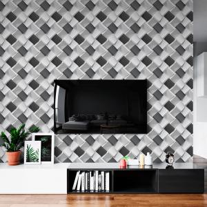 Papel De Parede - Cubos realistas em preto e nuances branco Vinil 0,010mm - Autocolante Sob medida - Padrão Impressão Digital - Fosco - Divididos em Rolos de 50cm - Todas as Imagens são MERAMENTE ILUSTRATIVAS.