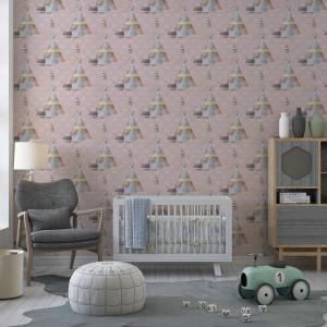 Papel De Parede - digital Boho Baby Nursery Mod. 1 Vinil 0,010mm - Autocolante Sob medida - Padrão Impressão Digital - Fosco - Divididos em Rolos de 50cm - Todas as Imagens são MERAMENTE ILUSTRATIVAS.