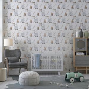 Papel De Parede - digital Boho Baby Nursery Mod. 7 Vinil 0,010mm - Autocolante Sob medida - Padrão Impressão Digital - Fosco - Divididos em Rolos de 50cm - Todas as Imagens são MERAMENTE ILUSTRATIVAS.